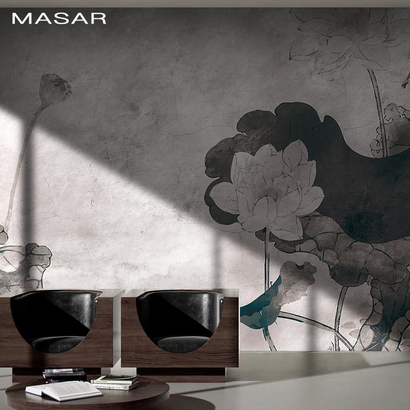 MASAR Chinese Flower Painting Murals Sofa Background Wall Custom Wallpaper Green Light Luxury Wallpaper Lotus