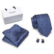 Men Tie Silk Woven 8cm New Paisley Blue  Necktie Hanky Cufflinks Set Fashion Party Wedding for Mens