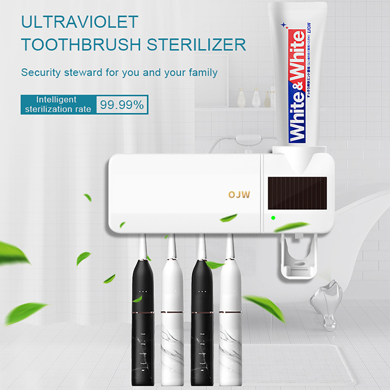 UV Sanitizer Toothbrush Sterilizer With Automatic Toothpaste Dispenser Kill 99.9% Germs Atibacteria UV Cleaner Toothbrush Holder