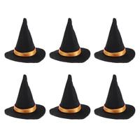 Mini sombreros de bruja de fieltro hechos a mano, decoración de botellas de vino para fiesta de Halloween, accesorios para el cabello artesanales, color negro, 6 uds.