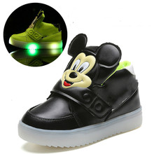 New Luminous Spring Sneaker Children Girls Led Kids Shoes High Female Child Baby