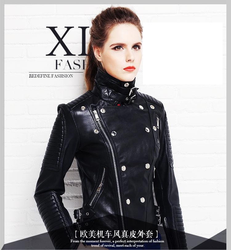 Free Shipping, New Brand Fashion Black Genuine Leather Women Slim Jackets.plus Female 100% Sheepskin Biker Jacket,sales.