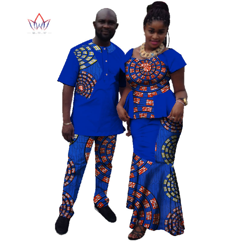 Summer Couple African Clothing Traditional African Clothing For Women Men  Bazin Riche Dashiki Women Skirt Set Men's Suits WYQ10
