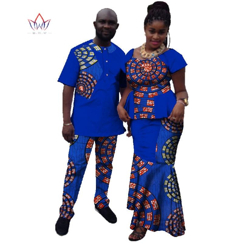 الصيف زوجين الملابس الأفريقية التقليدية الملابس الأفريقية للنساء الرجال بازان الثراء dashiki النساء تنورة مجموعة بذلات رجالية WYQ10