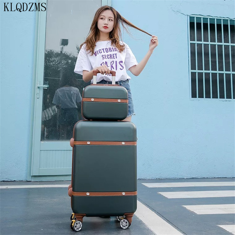 KLQDZMS 20''22''24''26 Inch Women Rolling Luggage Set ABS Classic Business Travel Wheeled Trolleys Spinner Rolling Luggage