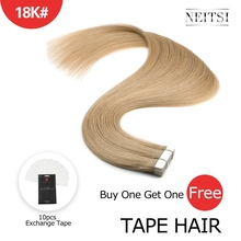 Neitsi Machine Made Remy Tape In Human Hair Extensions 20 Double Side Tape Straight Ombre Skin Weft Hair + Free Exchange Tapes sambraid straight hair skin weft 22 inch 40 pieces pack synthetic hair extensions tape in hair pure color double side tape