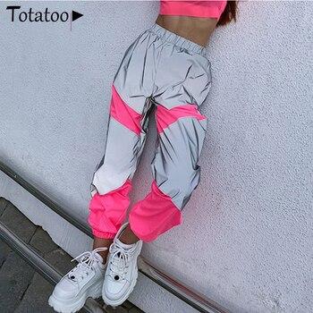 цена на Totatoop Summer Loose High Waist Flash Reflective Sporty Pants Women 2020 Summer Neon Jogger Pants Casual Cargo Trousers