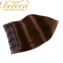 Doreen 100g 120g Blonde Brown Brazilian Machine Made Remy Clip In One Piece Human Hair Extensions  16inch-22inch