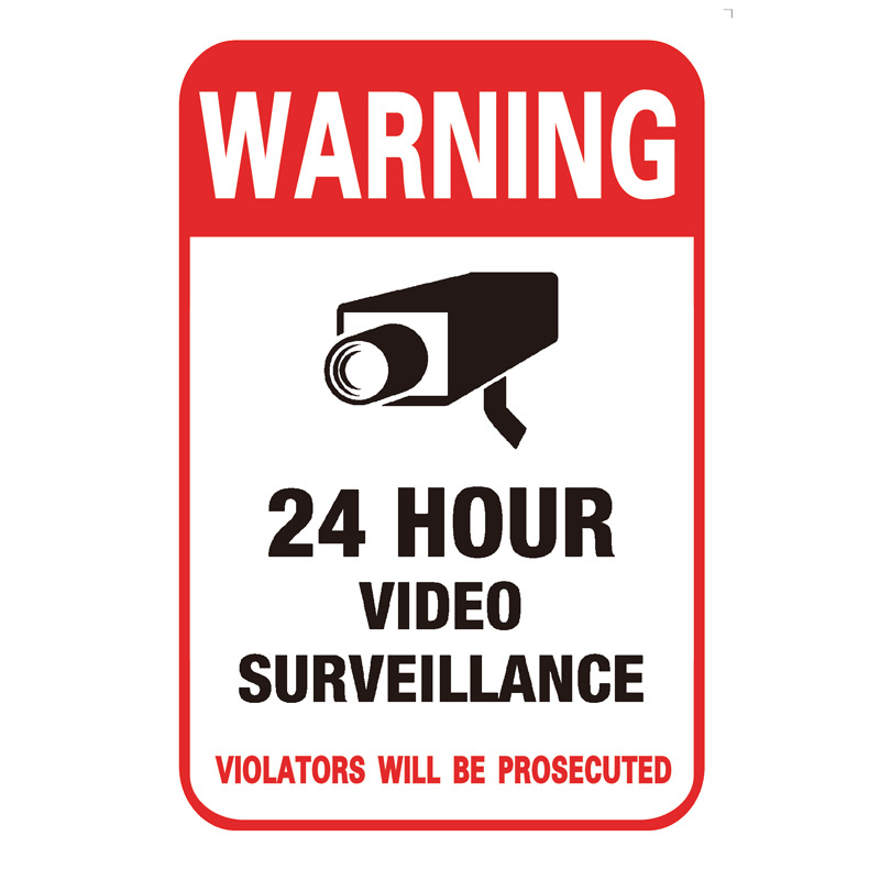 24 Hour Video Monitor Warning Stickers Webcam Adhesive Paper Sign Adhesive Sticker Customizable