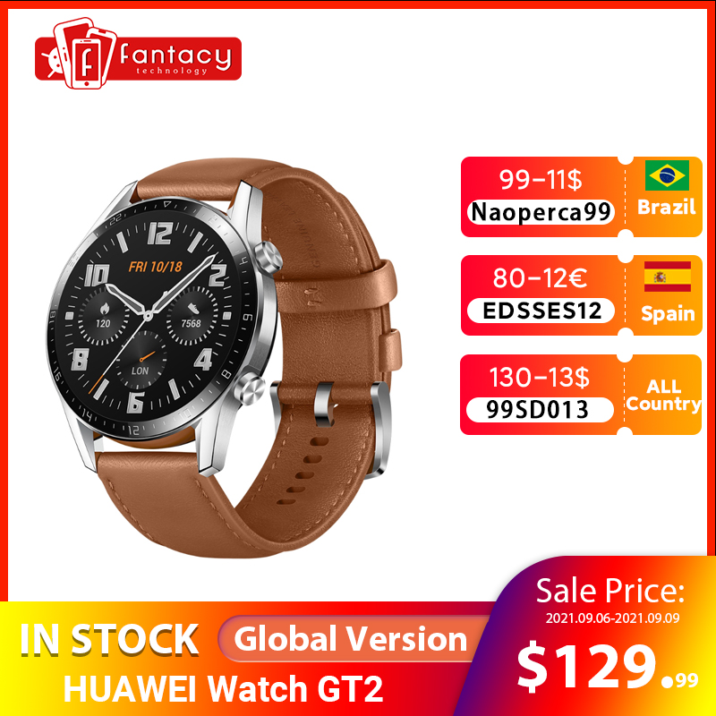46mm Global Version HUAWEI Watch GT 2 GT2 GPS 1.39'' AMOLED Waterproof Phone Smart Call Heart Rate Tracker For Android iOS Smart Watches  - AliExpress