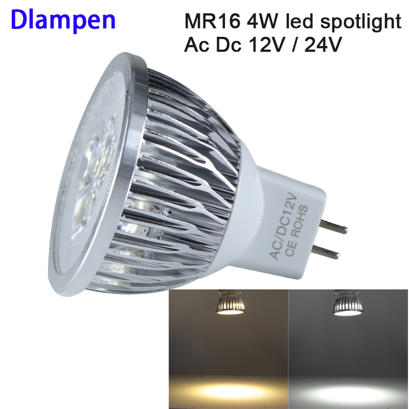 1pc <font><b>bombilla</b></font> <font><b>led</b></font> mr16 12v 24v 4W Aluminum spotlight bulb high power warm white energy saving lamp 12 <font><b>24</b></font> <font><b>v</b></font> volt ceiling lighting image