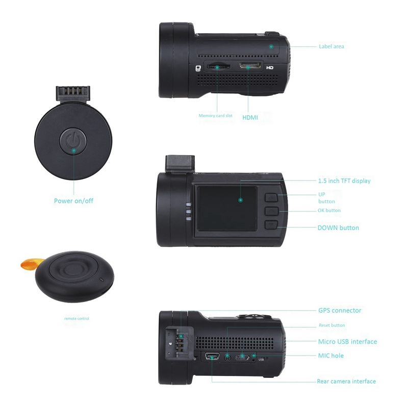 Mini Dvr Auto Dash Camera Speed Coördineren Gps 1080P 60FPS Hd Video Recorder Super Condensator Met Afstandsbediening Temperaturen - 2