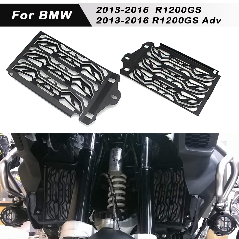 Silver Radiator Cooler Grill Guard Cover for 2013-2016 BMW R1200GS ADV LC