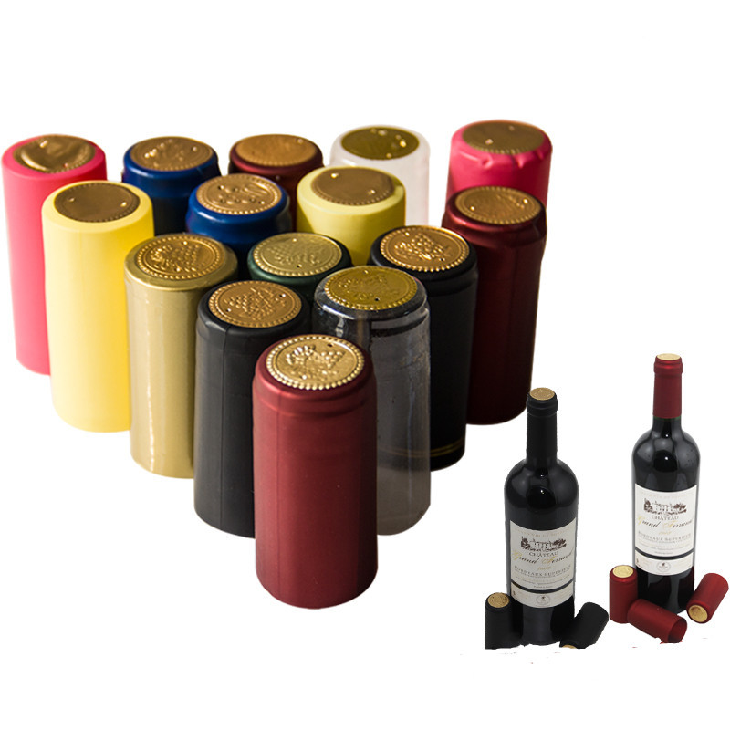 100x PVC Wine Bottle Shrink Film High-end Bottle Sealing Heat Cap Capsules Cover For Home DIY Brewing Wine Making Cork Companion