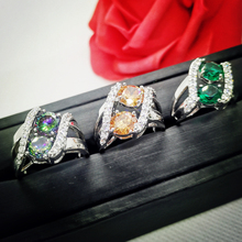 Wholesale Fashion New Round Cut Mysterious Rainbow Topaz & White 925  Silver Ring Size 7 8 9 10 PRECIOUS JEWELRY