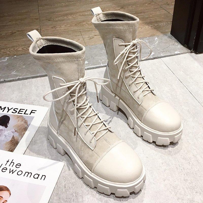 Black Sock Boots Women 2020 New Punk Gothic Shoes Ankle Boots Platform Shoes Women White Sock Boots