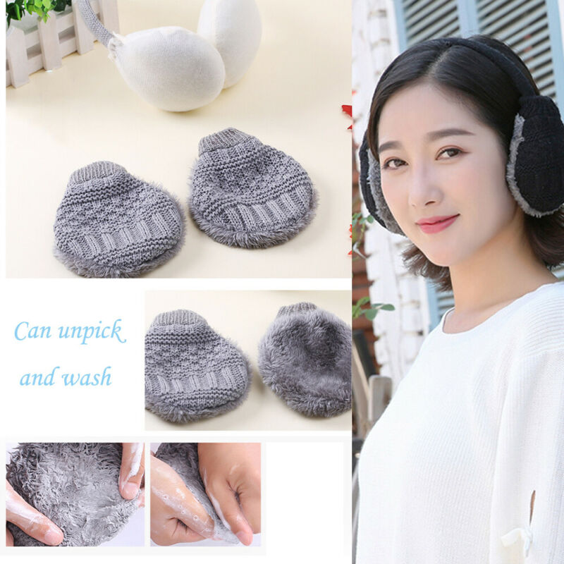 Winter Women Fashion Koraen Style Soft Plush Fur Knitted Warm Earmuff Headphones Outdoor Activity Washable Cute Ski Ear Muff