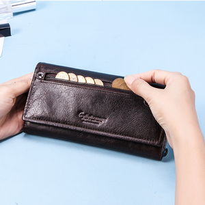 Image 3 - Contacts Genuine Leather Women Long Purse Female Clutches Money Wallets Brand Design Handbag for Cell Phone Card Holder Wallet