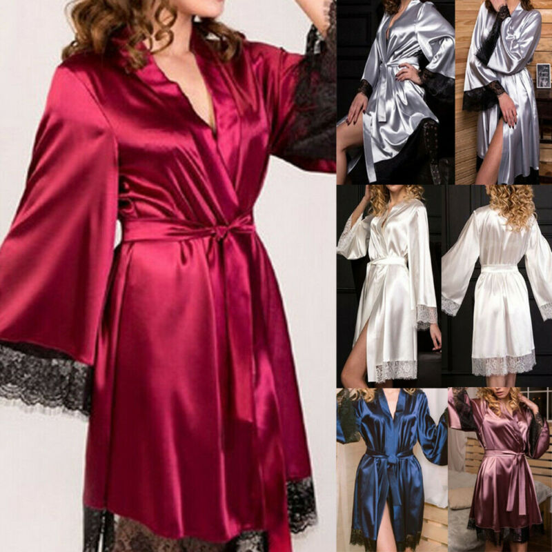High Quality Sexy Women Silk Lace Lingerie Robe Dress Babydoll Nightdress Bathrobe Sleepwear V Neck Ladies Homewear