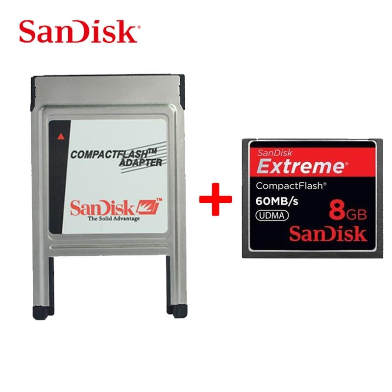 SanDisk CF Card 8G Canon Nikon Camera Memory Card 60MB / S 50M / S 30M / S High Speed CF Card With CF To PC Adapter PCMCIA
