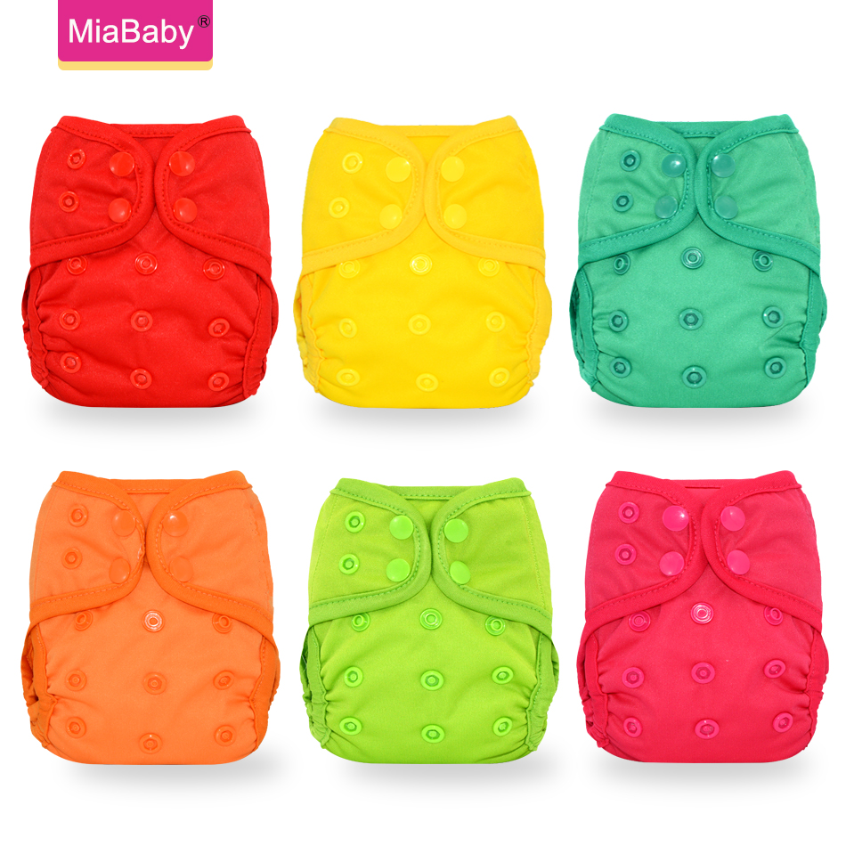 Miababy(6pcs/lot) Newborn Baby Washable Cloth Diaper Cover Reusable Real Nappy Cover Wrap Suits Birth To Potty Diaper Wholesale