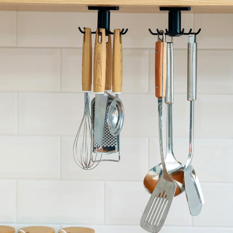 High Quality Kitchen Cutlery Organizer Kitchen Accessories Storage Rack 360 Degrees Rotated Kitchen Hooks Shelf Dish Drainer