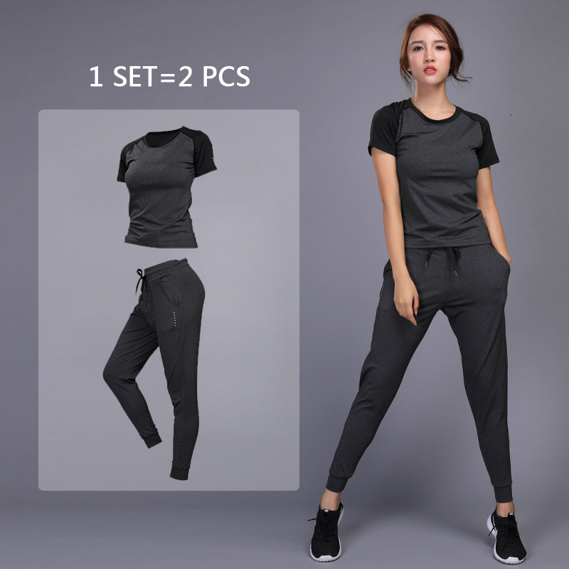 Gym T-Shirts Suit Sportswear Pants Clothing Yoga-Sets Fitness-Training Workout Jogging title=