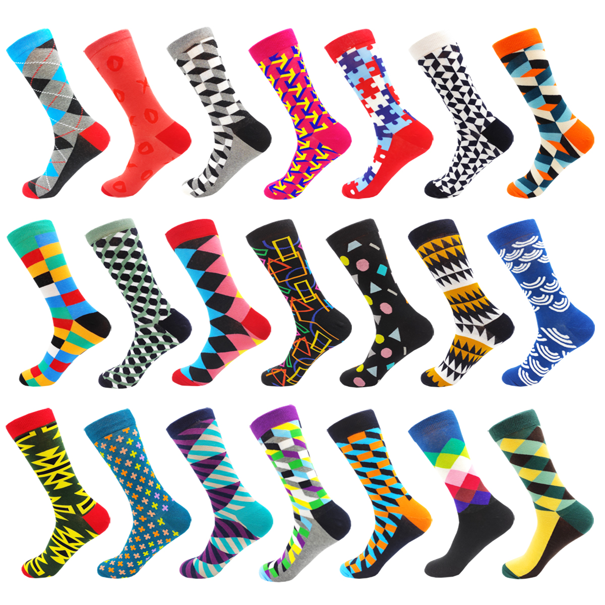 Colourful  Fashion Hip Hop Cotton Strip Mens Socks Creative High Quality Harajuku Happy Funny Elegance Art Women Socks Size38-46
