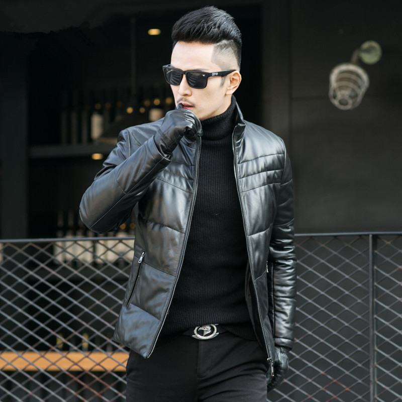 Winter Genuine Leather Coat Men Leather Thick Warm Down Coat Men's Outwear Real Leather Sheepskin Coat 1793 LWL1079