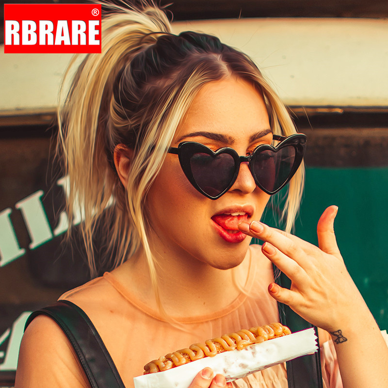 RBRARE Love Heart Sunglasses Women Big Frame Personality Sunglass Fashion Cute Sexy Retro Cat Eye Vintage SunGlasses Pink Female