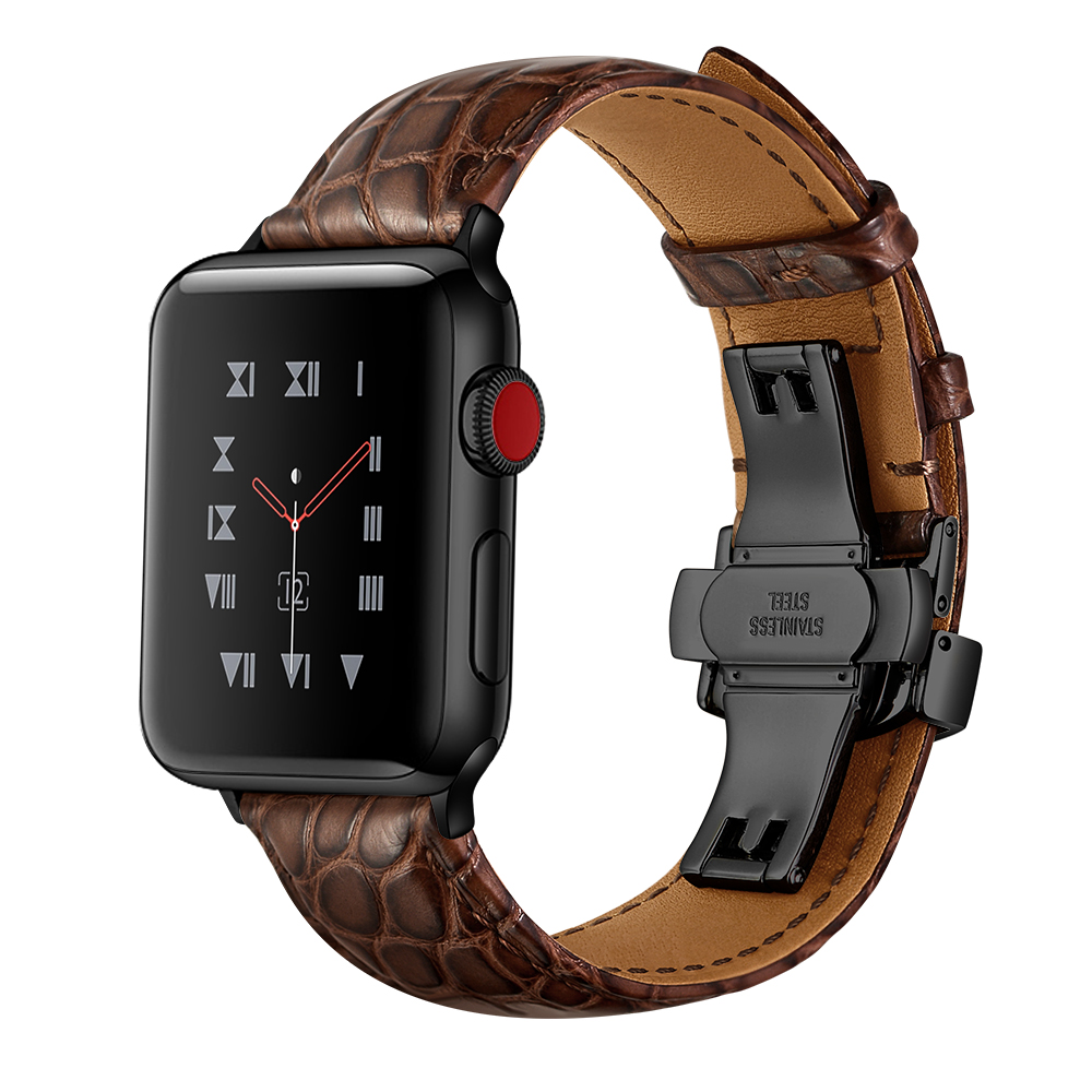 Butterfly Clasp leather strap for Apple watch band 44mm 40mm iwatch 5 4 3 2 1 band 42mm 38mm bracelet belt apple watchbands   Watchbands