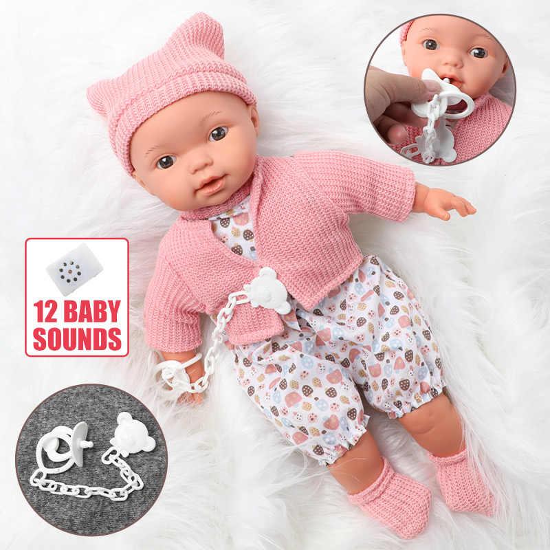 40.5 ซม.การจำลองเสียง Bebe Reborn ตุ๊กตาผมยาว 16 นิ้วที่สมจริงบรรจุผ้าฝ้ายซิลิโคนเด็กตุ๊กตาชุดเสื้อผ้าสำหรับของเล่นเด็ก