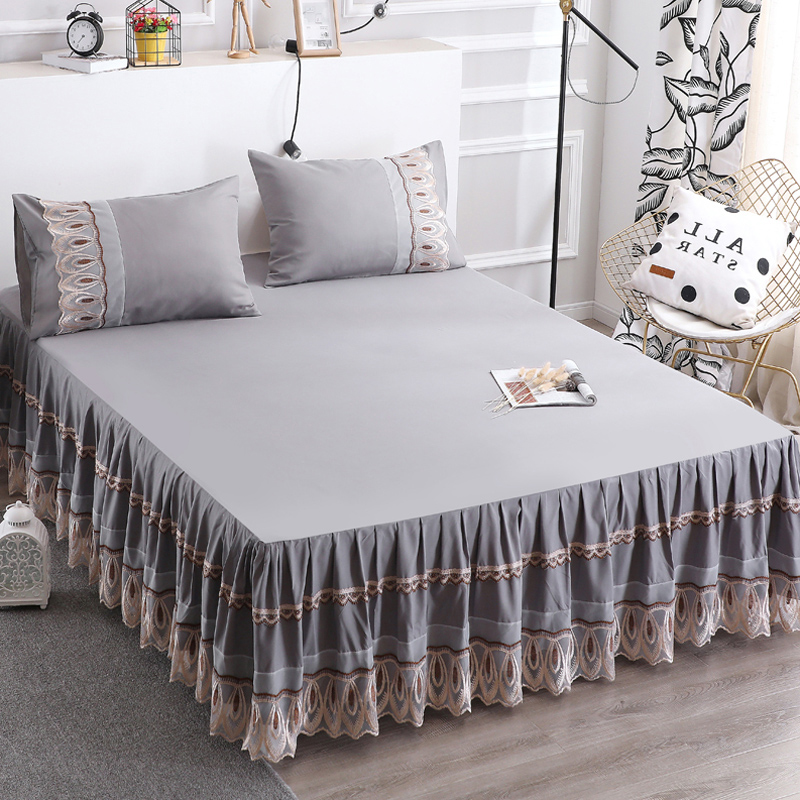 European Solid Color Lace Bed Skirt Comfortable Non-slip Simmons Bed Cover Sheet All-inclusive Dust Cover