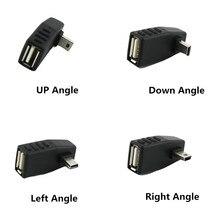 2x мини-usb 5Pin B штекер USB 2,0 Тип A Женский хост-адаптер OTG левый/правый/вверх/вниз угол черный