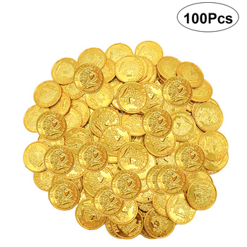 100pcs Pirates Gold Coins Plastic Gold Coins Props Game Accessary  Funny Playing Toys for Kids Children (Golden)