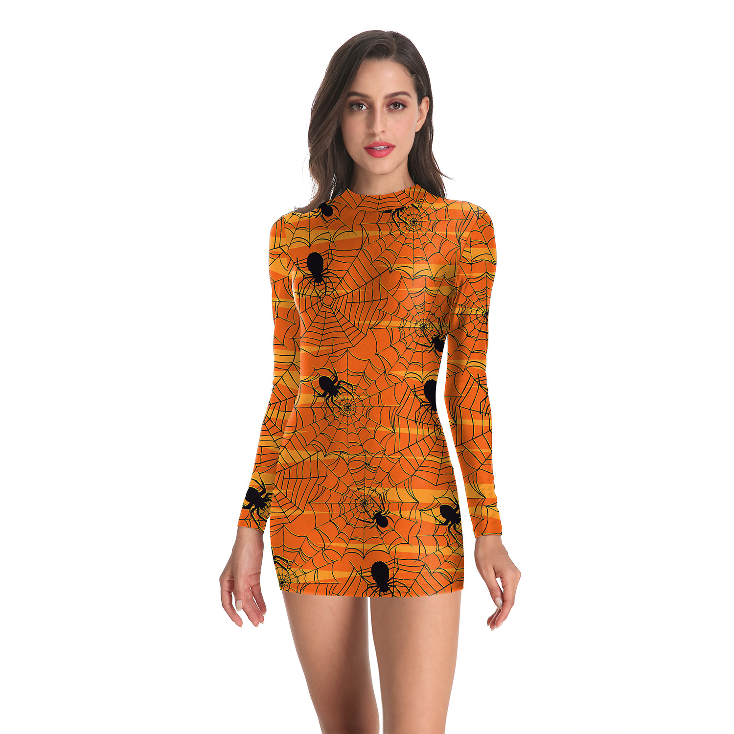 Wish Hot Selling Halloween Costume Europe And America Amazon 3D Digital Printing Spider Slim Fit Long-sleeved Dress Women's