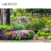 Laeacco bahar parkı bahçe Blooms çiçekler saksı çim çiftlik fotoğraf arka plan fotoğraf arka fonu Photocall fotoğraf stüdyosu için