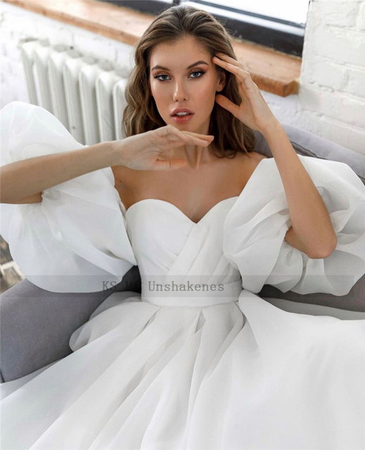 Princess White Wedding Dress Puff Short Sleeve Plus Size Bridal Dresses Lace up Back A Line Cheap Wedding Gowns Vestido de Noiva 3