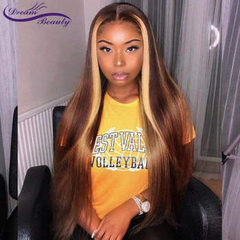 13x 6 Lace Front Wigs Highlight Straight Lace Frontal Wig Brazilian Remy Lace Front Human Hair Wig Pre Plucked Dream Beauty 1