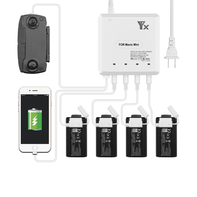 6 In 1 Mavic Mini Drone Battery Charger With USB Charge Port Remote Control Charging For Dji Mavic Mini Drone