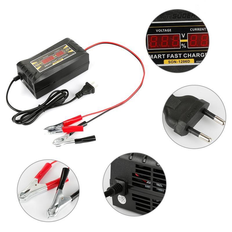 Универсальное автомобильное зарядное устройство 110В до 220В 12В 6А ЖК-дисплей Smart Fast для автомобильного мотоцикла свинцово-кислотные аккумуля...