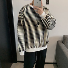 Cotton Hoodie Men Fashion Contrast Color Casual O-neck Striped Pullover Man Streetwear Wild Hip Hop Loose Sweatshirt Male M-2XL