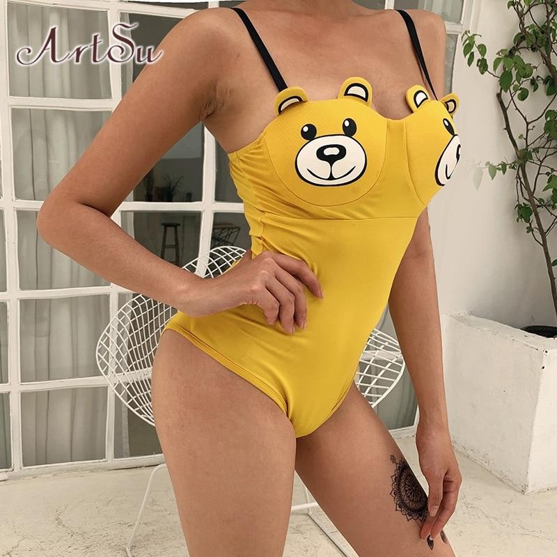 ArtSu Cartoon Bear Yellow Sexy Bodysuit Sleeveless Off Shoulder Bodycon Beach Bodysuits Summer Body Mujer Streetwear ASJU20668