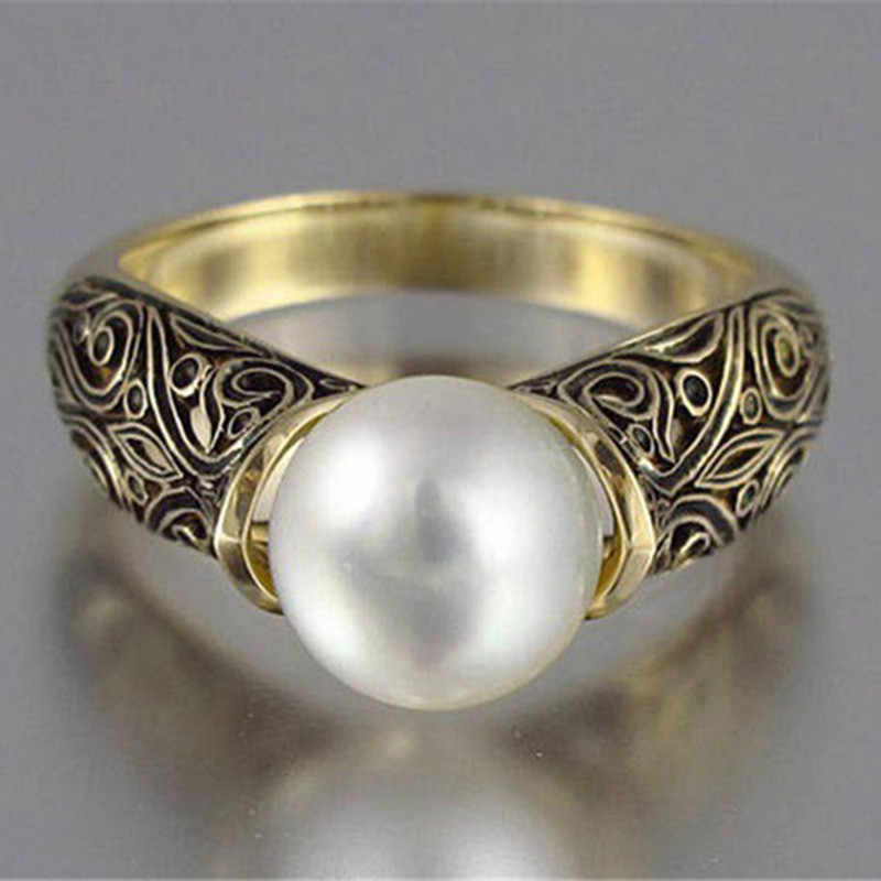 Modyle Gold Punk Vintage ดอกไม้ขนาดใหญ่ไข่มุกจำลองแหวนผู้หญิง Dropshipping
