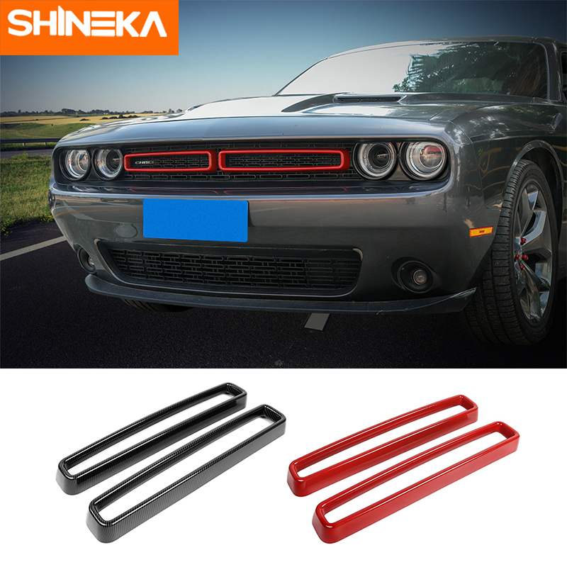 SHINEKA Racing Grills for Dodge Challenger 2015+ Car Grille Air conditioning Vent Decoration Cover for Dodge Challenger 2015+