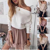 YELITE Sexy épaule dénudée pull tricoté femmes mode pulls tricots automne hiver 2019 blanc pull pull femme grande taille