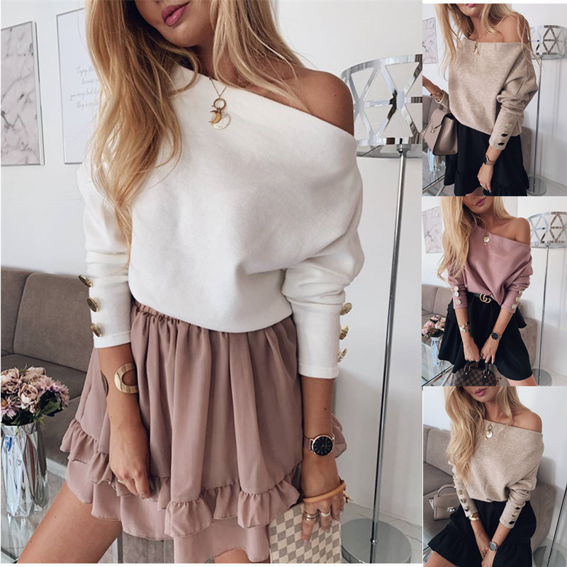 YELITE Sexy Off Shoulder Knitted Sweater Women Fashion Pullovers Knitwear Autumn Winter 2019 White Jumper Pull Femme Plus Size