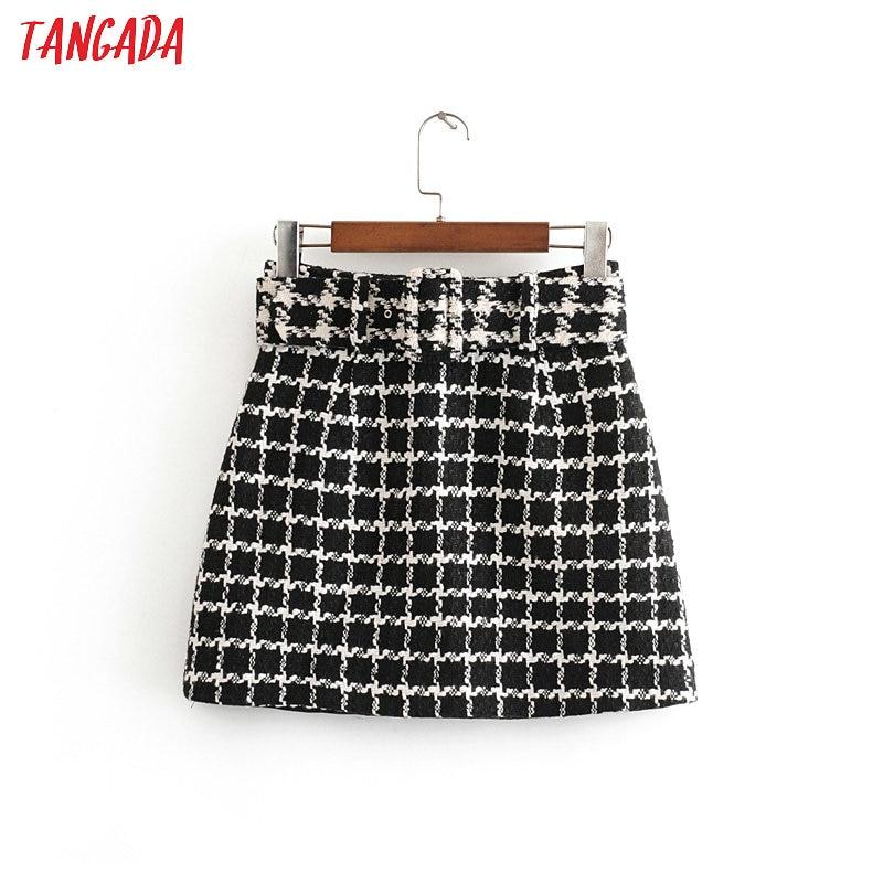 Tangada Women Chic Plaid Tweed Mini Skirt With Belt Back Zipper A Line Retro Basic Female Casual Skirts 3H426