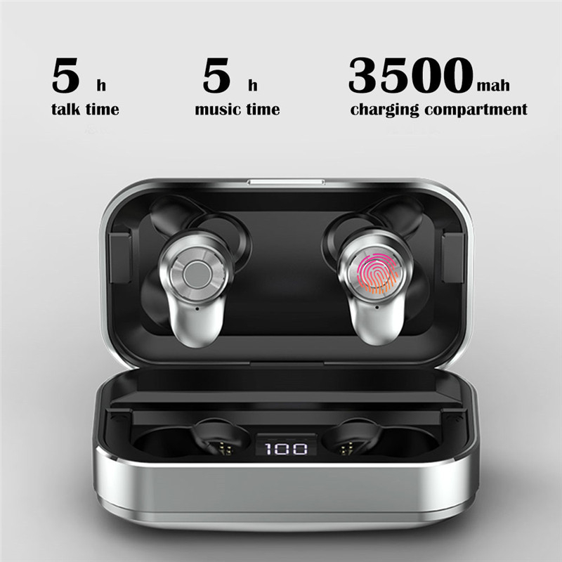2019 TWS True Wireless earbuds Sport 5 0 Bluetooth Earphones IPX7 Waterproof with mic 3500mAh charging box Power Bank YZ284 in Phone Earphones Headphones from Consumer Electronics