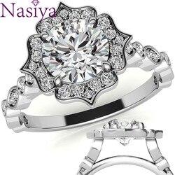 NASIYA stałe 10K 14K 18K białe złoto okrągłe antyczne Halo Moissanite pierścionek zaręczynowy dla kobiet zestaw dla nowożeńców biżuterii